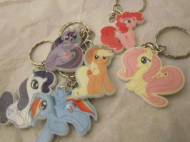 My Little Pony Mane Six Key Chains by darkmagician1212
