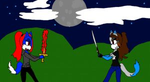 Midnight And Alice sword fight (RQ) by Alice-KnightShadow