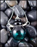 Black Cauldron - Lampwork Glass Bottle Pendant by andromeda