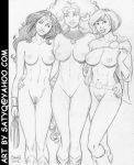 Wonder Woman, Starfire, Power Girl nude line-up by SatyQ