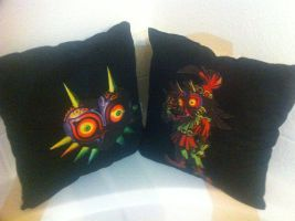 Majoras Mask Inspired Decorative Pillows by Raychull7