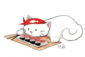 Sushi Cat by MaryLuellyn