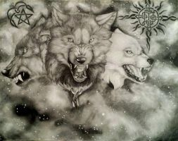 Three wolf commission by MasterGunyer