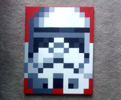 Stormtrooper pixel painting with acrylic by laceypatt