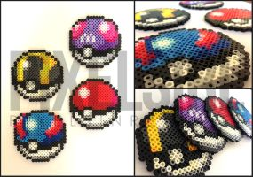 Pokeball Set Perler Bead Art - Pokemon by pixelsirl