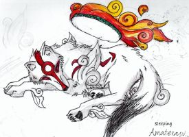 sleeping Amaterasu by mario-okami