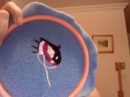 Eye embroidering WIP by Eyeheartz0rd