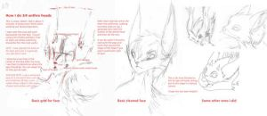 How I do 3-4 anthro heads by Besonik