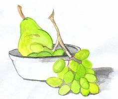 grapes and pear by cheshire-cat-19