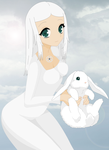 Margaret and her pet rabbit by Sweetgirl333