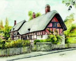 Anne Hathaways cottage front by morgansartworld