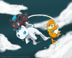 Mew, Buizel and Zorua by Cachomon