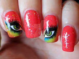 Coral nails / Born pretty store eyes water decals by Danijella