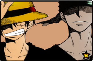 Luffy and Zoro by AneaKitsu
