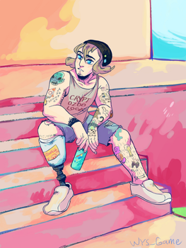 he just sits by arcadechan