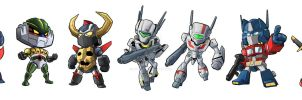 Chibi Mecha Stickers by Novanim