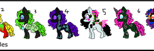 Tottaly Colorful 2 Point Ponies by Chickfila-Chick