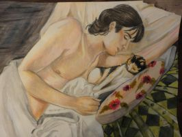 """Illustration """"boy with cat"""" part 4 by Angela-Chiappini"""