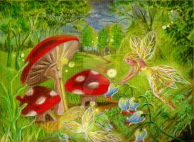 Fairies and Mushrooms by Catluckey