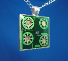 Circuit Board Pendant: Spokes by Llyzabeth