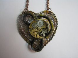STEAMPUNK NECKLACE Heart Filigree Pendant with Vin by bcainspirations