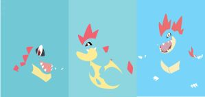 Totodile evolution line by S--Art