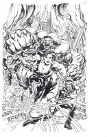 New Defenders 1 Alternate Cover Black and White by NealAdams