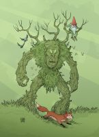 tree man, gnome and fox by xilrion