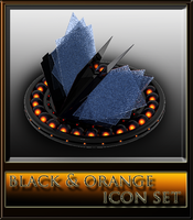 black and orange icon set by xylomon