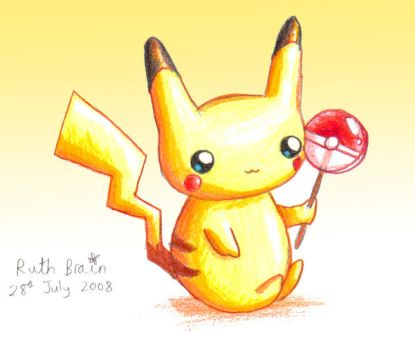 Baby Pikachu with Lollipop by Princess-Peachie