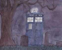 Tardis at the Grave by LadyRoxanne7