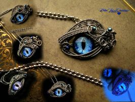 Storm, Sea and Sky Dragon Eye - Glow Pendant by LadyPirotessa