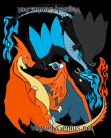 Tribalish Mega Charizard X and Y by vaguelygenius