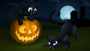 Halloween Kitties by Klowner