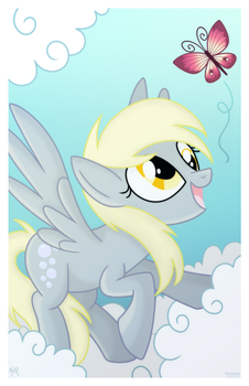 [PRINT] Derpy and Butterfly by Kazziepones