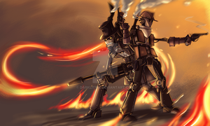 TF2: Steampunk robot Pyro and Scout by DarkLitria