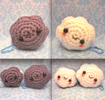 Double Kawaii Happy Meh Cloud Amigurumi Key Chain by Spudsstitches