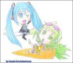 Chibis Miku and Gumi for CrazyAnime3 by khryztal-dark