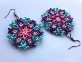 Kaleidoscope Mandala Earrings - Macrame Knotted Sn by floriknoture