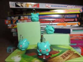 Flying mint bunny clay charms by Kechuppika