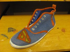 Superman Shoe WIP 2 by KalibHime