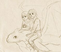 Astrid, Hiccup, Toothless and child - Calico321 by halfnote