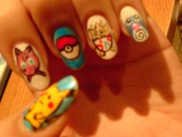 Pokemon nails by DanaSuckerfield