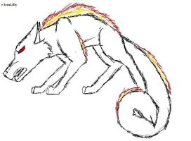 Wolf sketch2 Fire god by IcexLilly