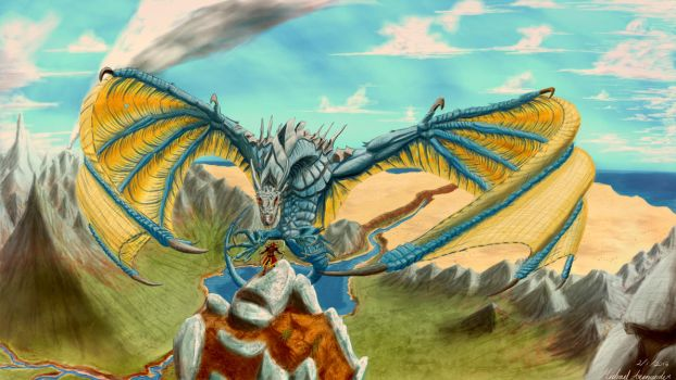 Blue Dragon Wallpaper Drawing (Skyrim inspired) by taumich