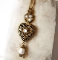 Heart Locket Necklace - white1 by Aranwen