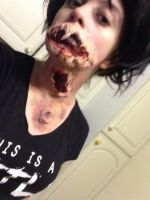 Ripped throat, face and moon by GodOfTheBleedingRose