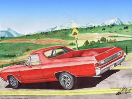 71 Chevy ElCamino Near Calgary by FastLaneIllustration