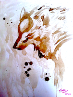 Okami Ammy Coffee Painting by Self-Eff4cing