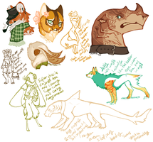 Character Concept Doodles by Hauket